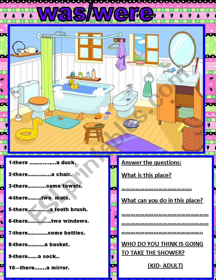 english worksheets there was there were. Black Bedroom Furniture Sets. Home Design Ideas