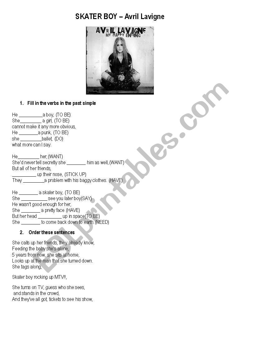 Song- Skater boy worksheet