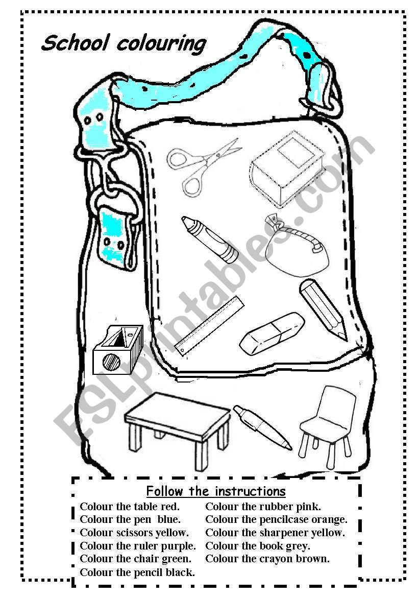 school objects colouring worksheet