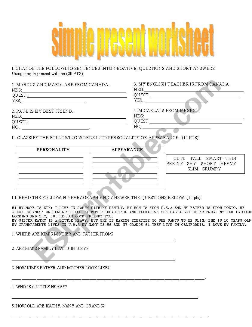 English Worksheets Simple Present Tense
