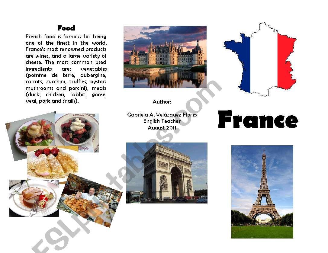 Brochure about France worksheet