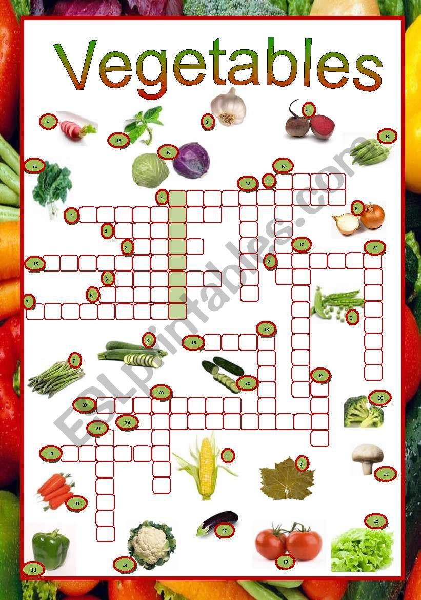 Vegetables crossword worksheet