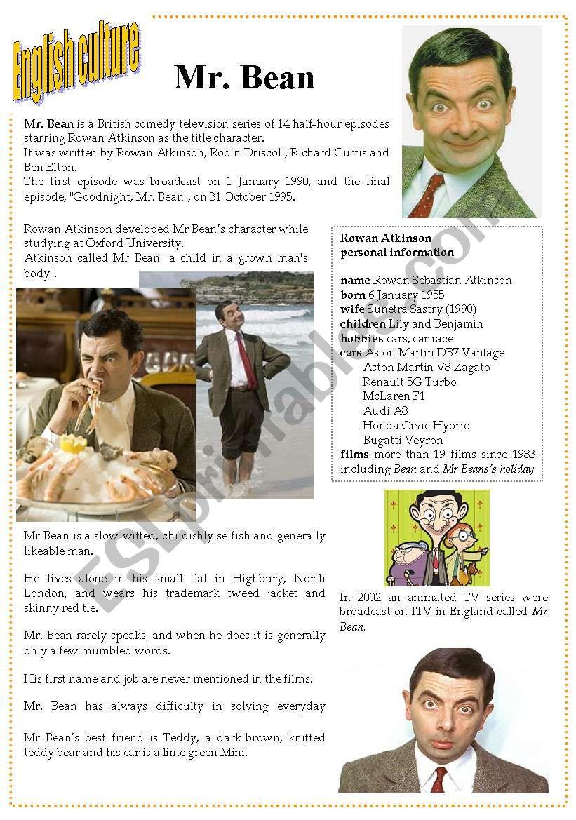 English culture 7 - Mr. Bean worksheet