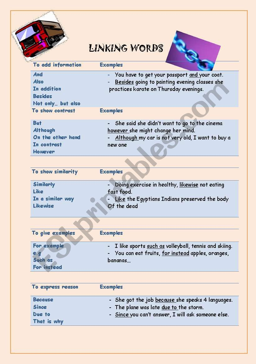 Linking Words Esl Worksheet By Ingrata84
