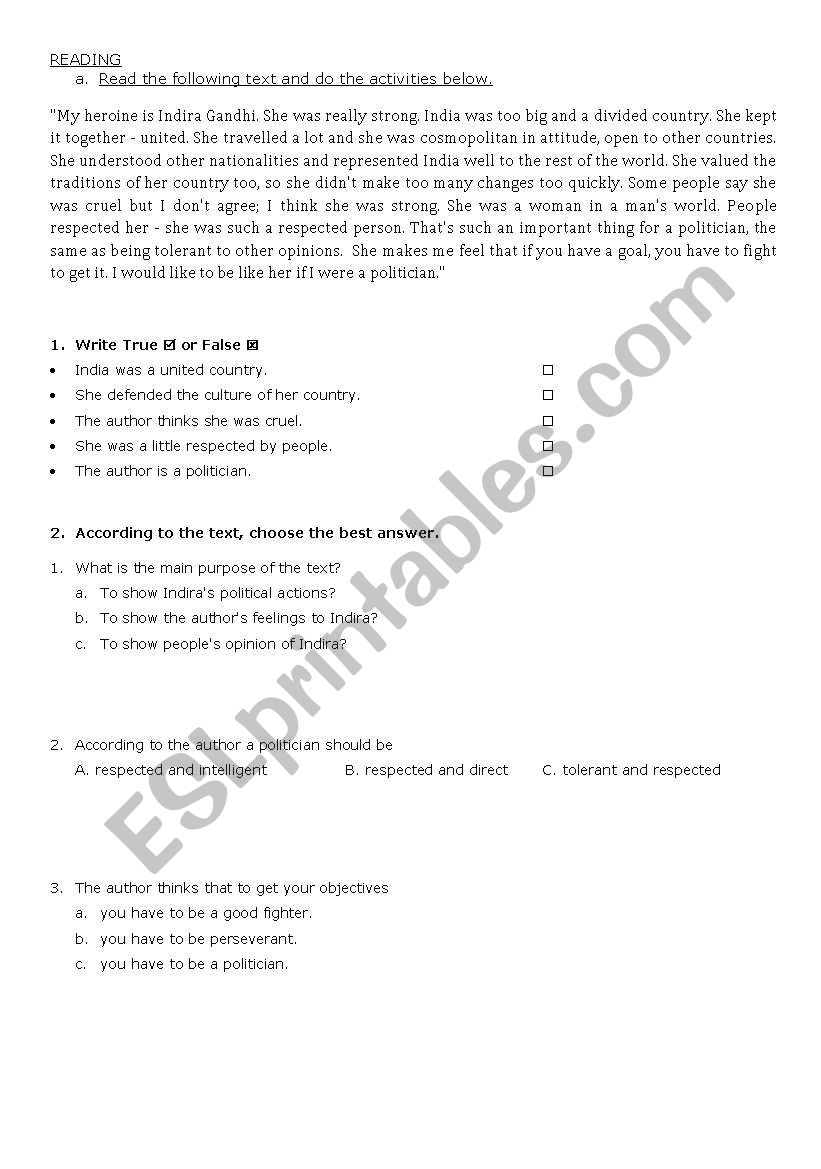 HEROES - READ AND WORK worksheet