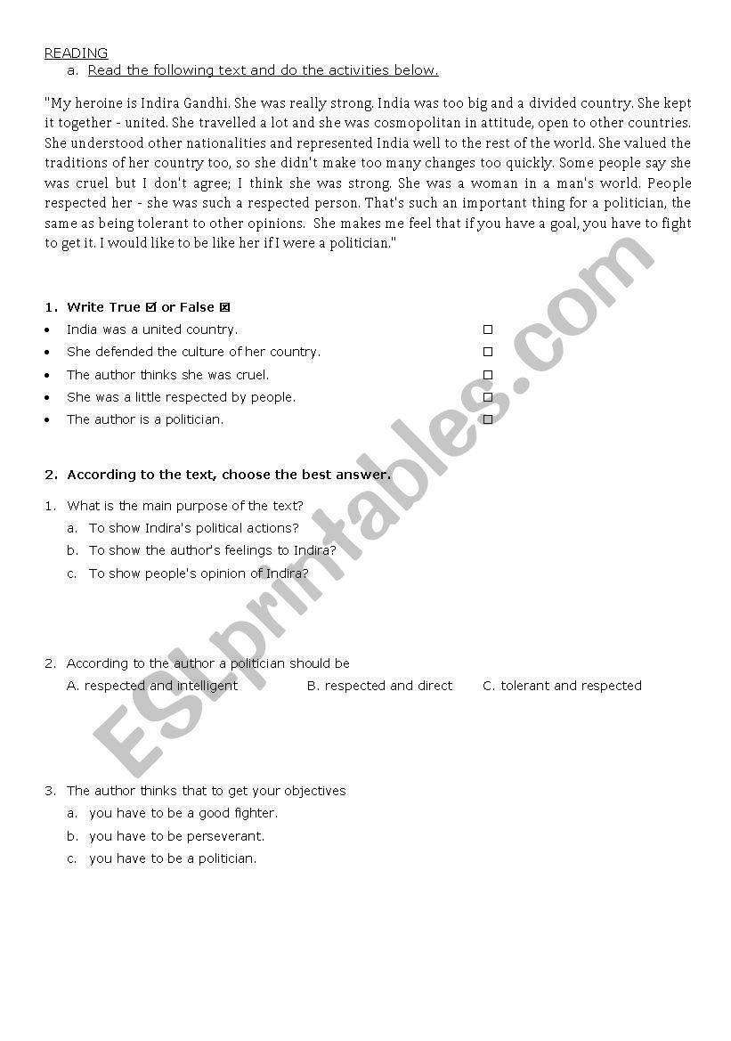 HEROES - READ AND WORK worksheet