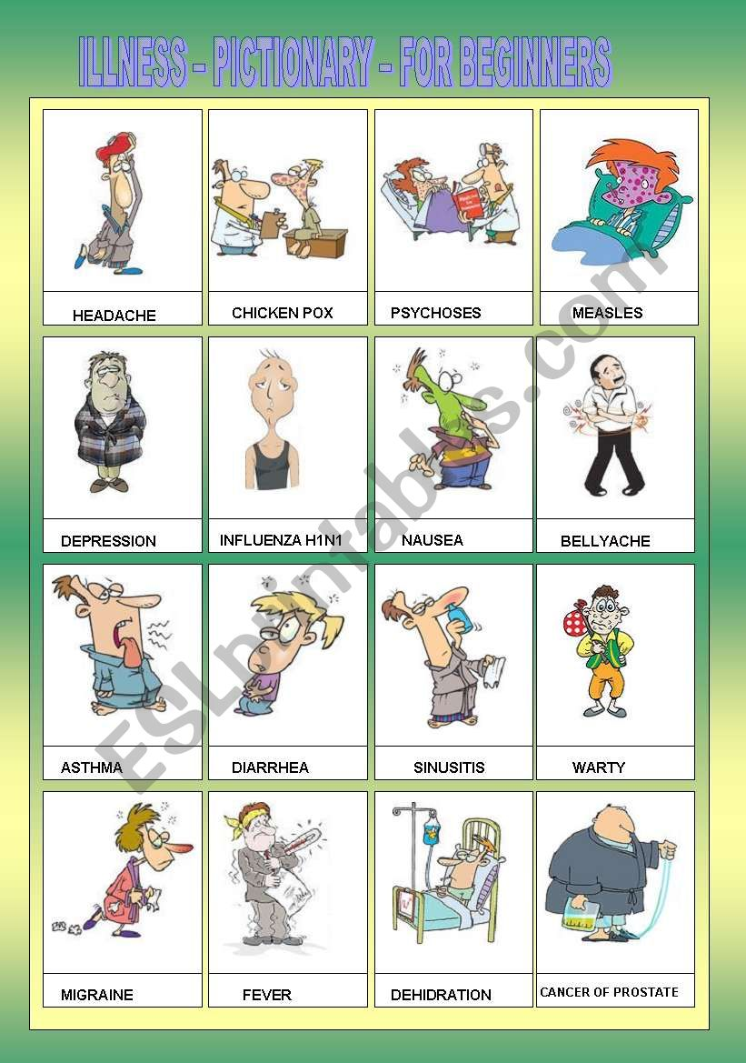 ILLNESS - PICTIONARY - FOR BEGINNERS