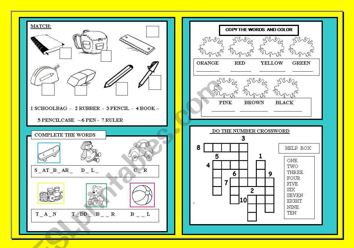 BACK TO SCHOOL- REVISION  worksheet