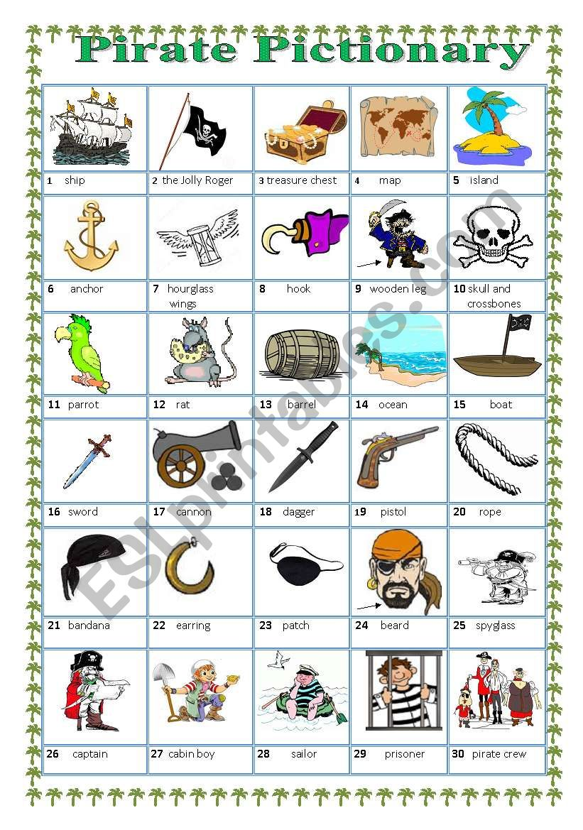 Pirate Pictionary worksheet