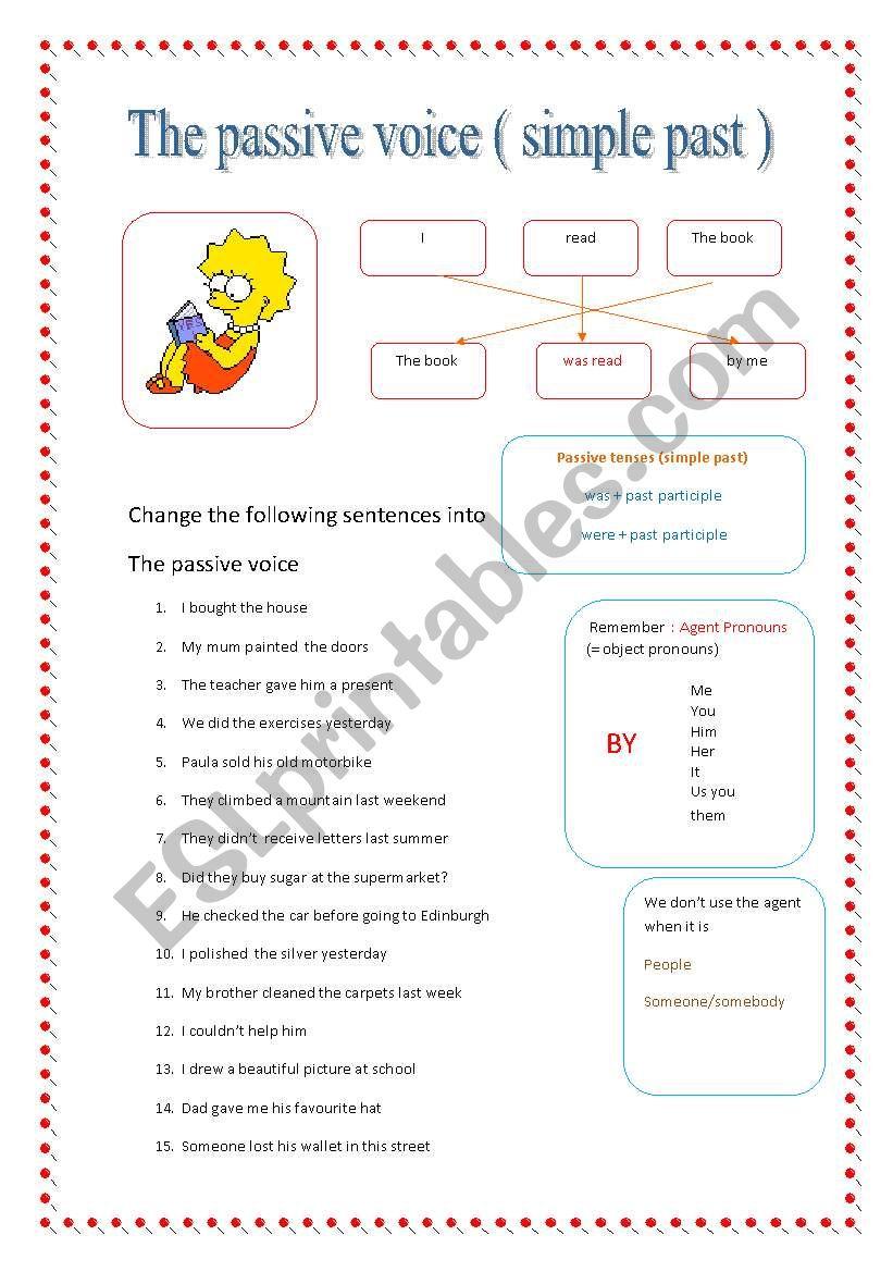Passive Voice Simple Past Esl Worksheet By Nataliaalmoines