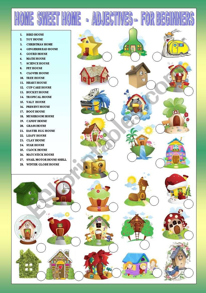 HOME SWEET HOME - ADJECTIVES - FOR BEGINNERS + KEY