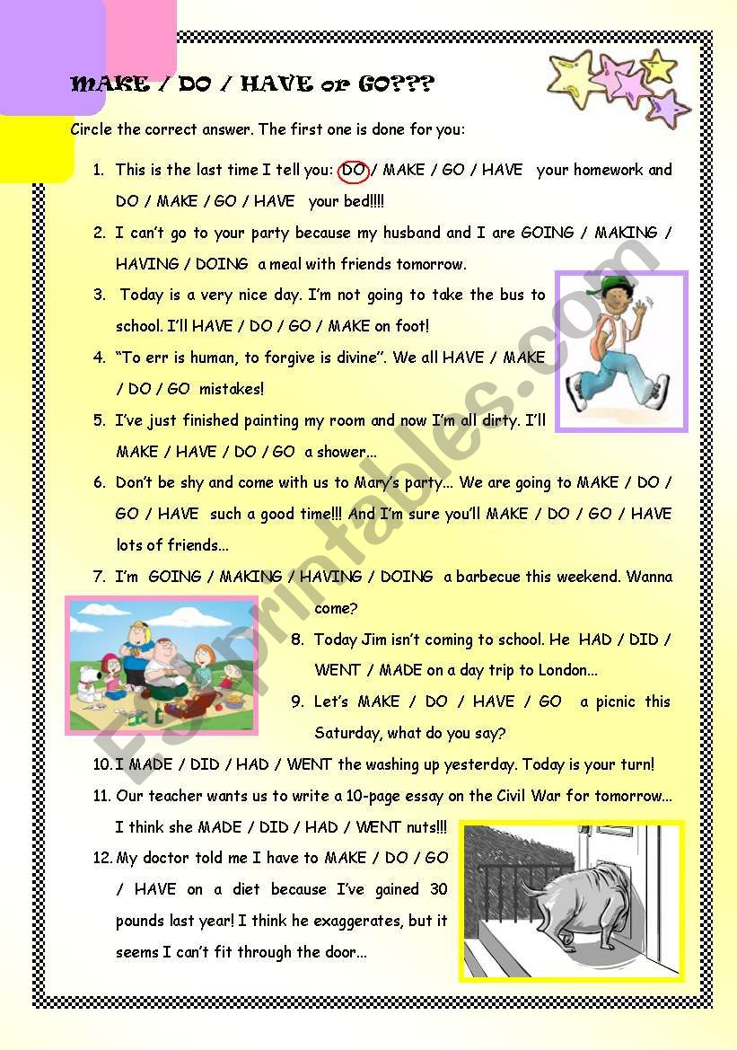 Collocations with MAKE/DO/HAVE/GO