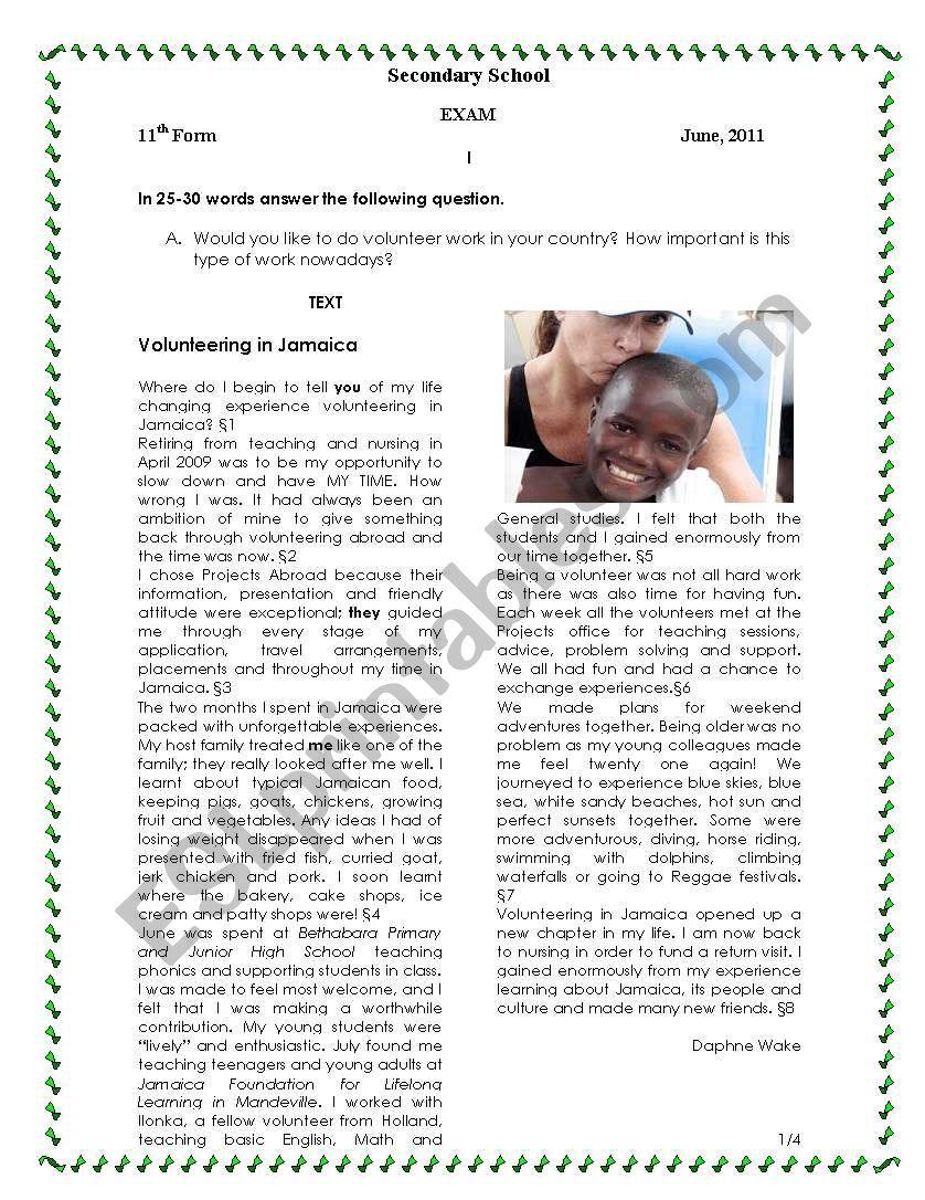Volunteering in Jamaica worksheet