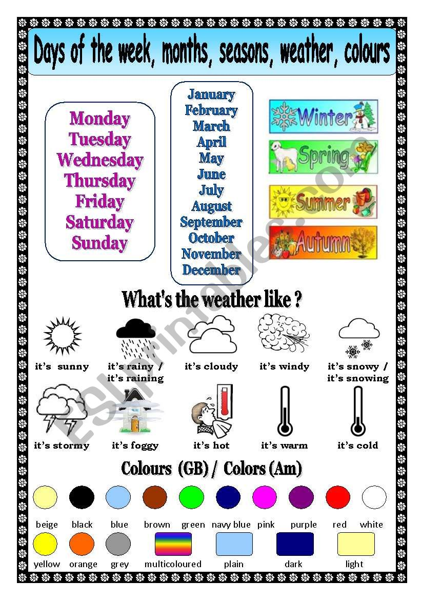 days of the week months seasons weather colors esl worksheet by mags24. Black Bedroom Furniture Sets. Home Design Ideas