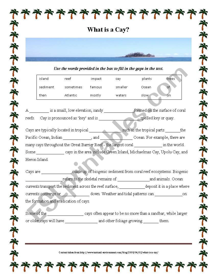 What Is A Cay Cloze Activity Esl Worksheet By Elapamor