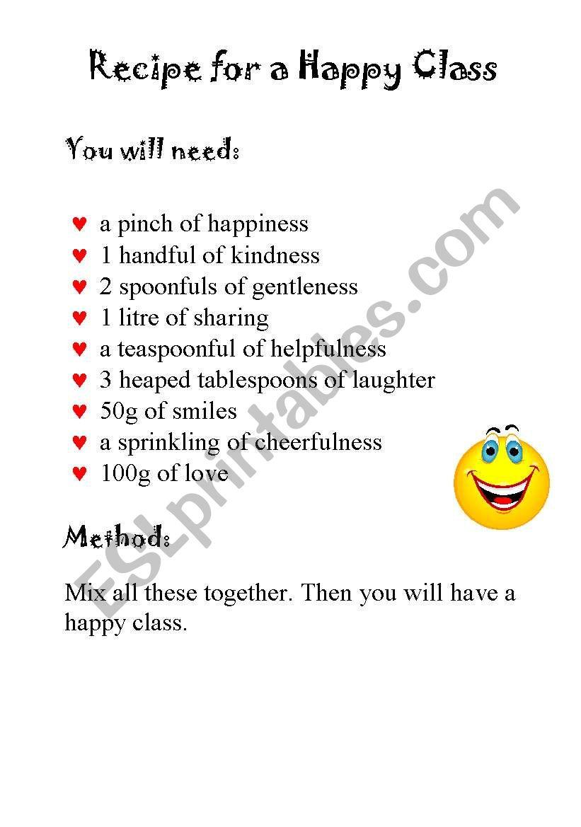 recipe for a happy class
