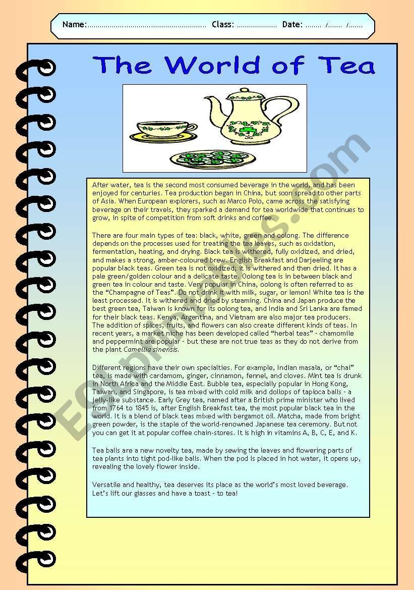The World of Tea worksheet
