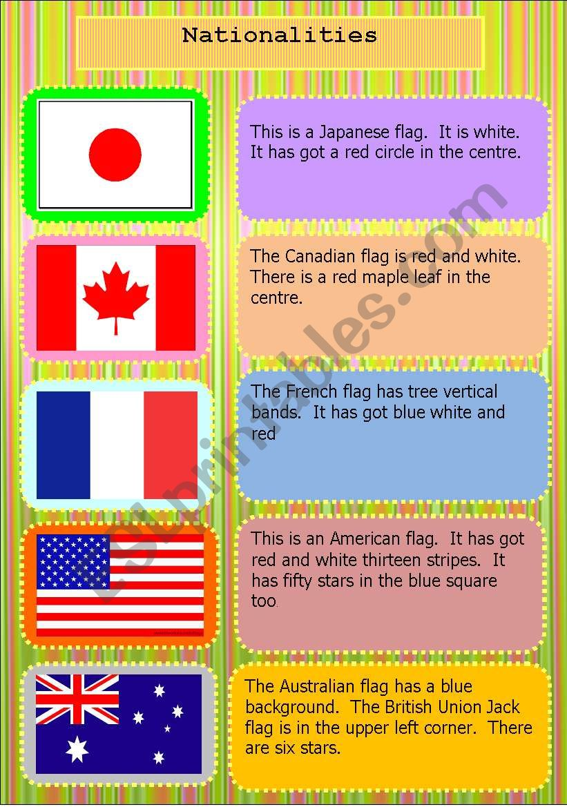 Nationalities & flag worksheet