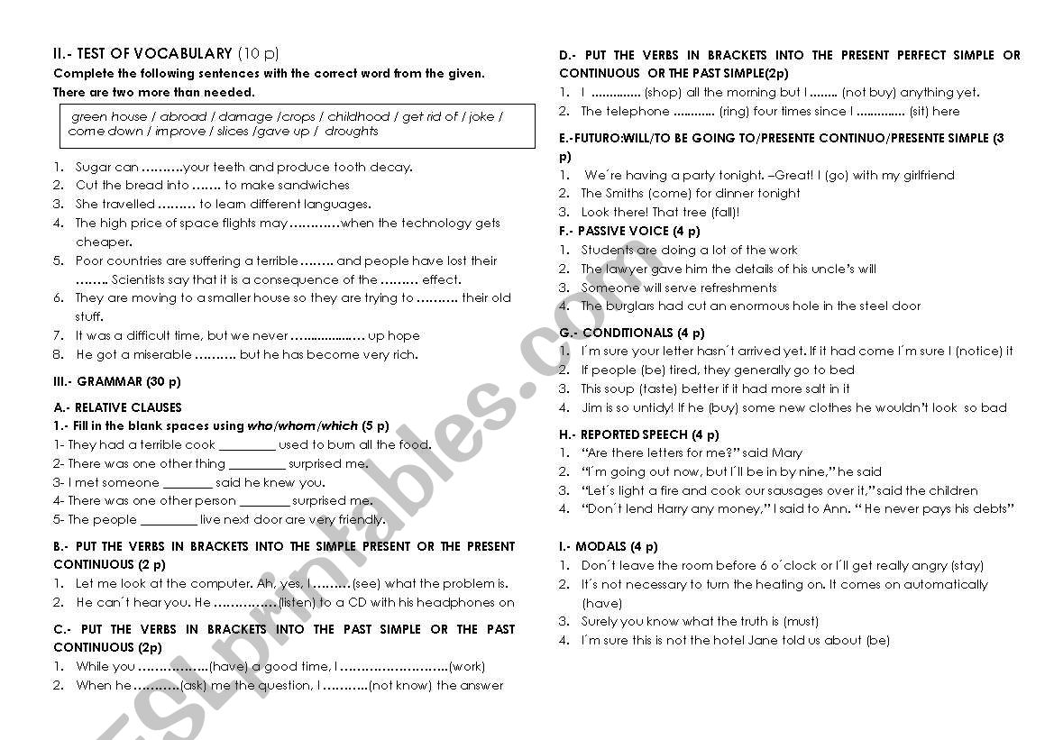 End of year test for 4º ESO worksheet