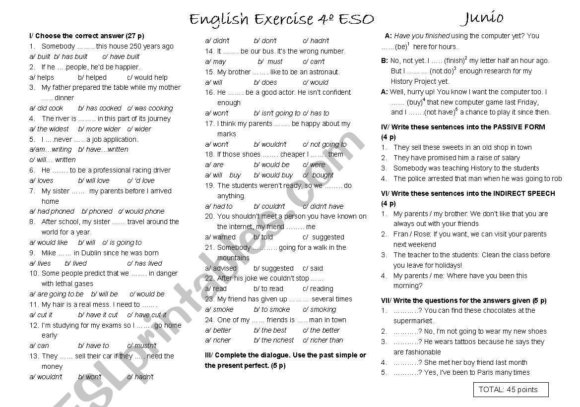 End of year test for 4º ESO (b)
