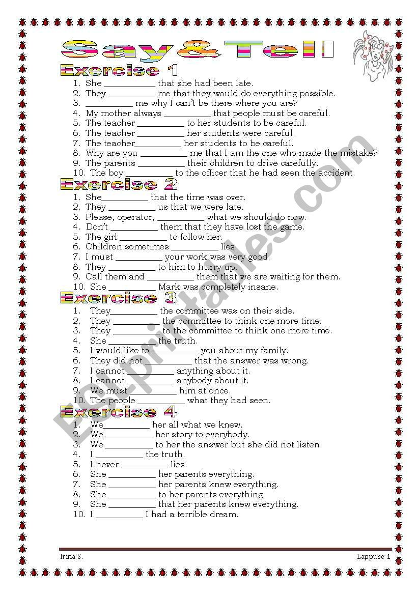 Grammar from A to Z SAY & TELL  (18-25)