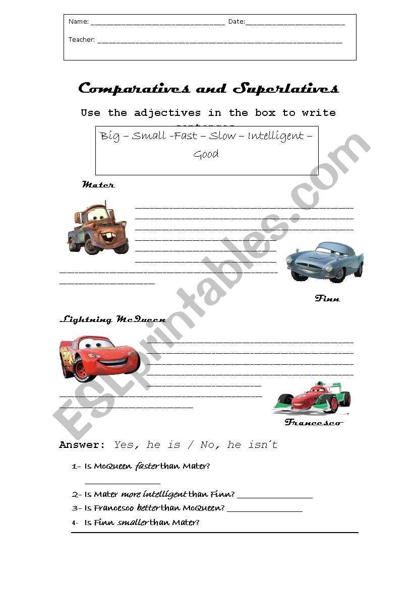 English Worksheets Comparing Cars