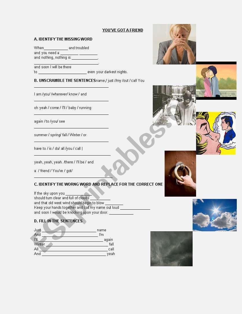 SONG: YOU´VE GOT A FRIEND worksheet