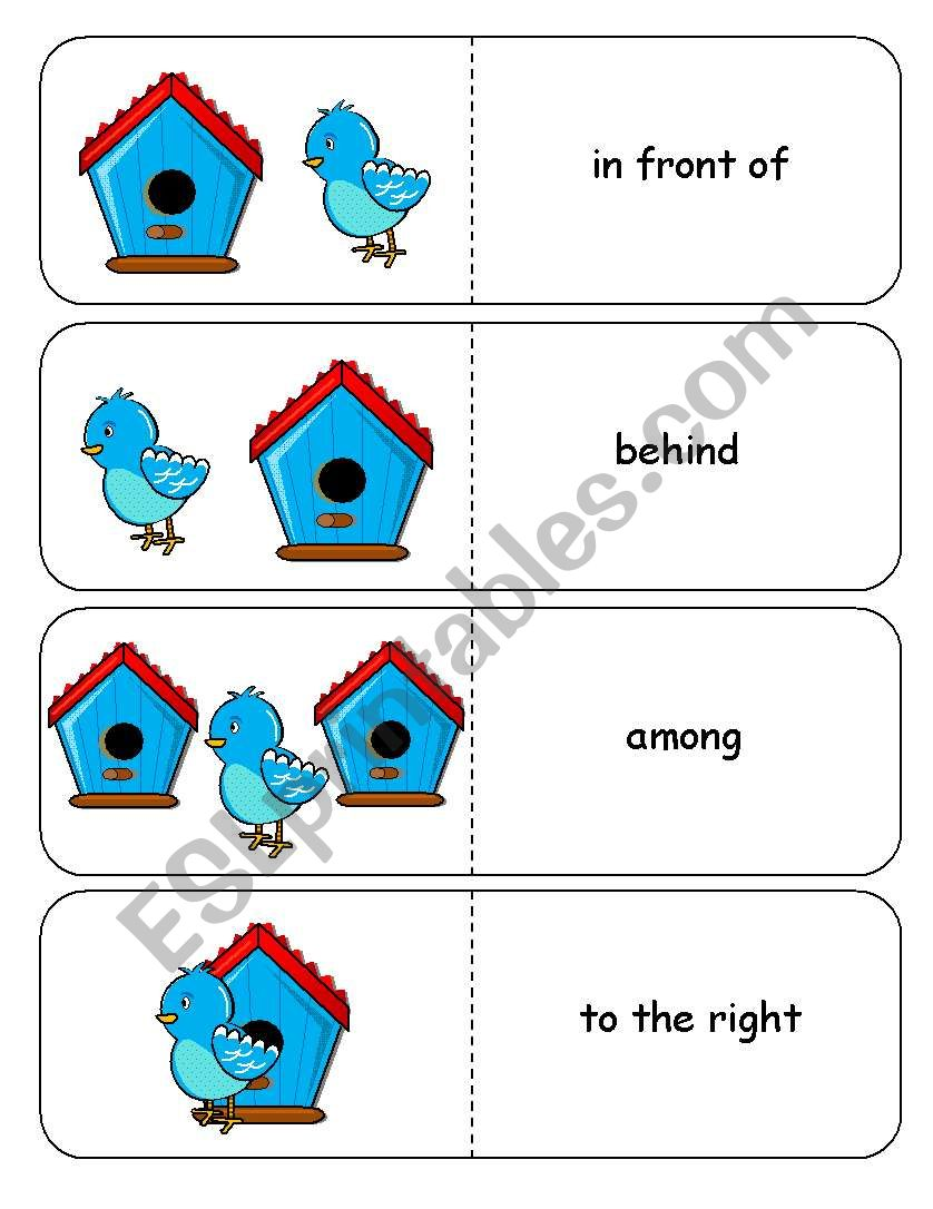 Where is the Blue Bird Preposition Dominoes and Memory Cards Part 2 of 3