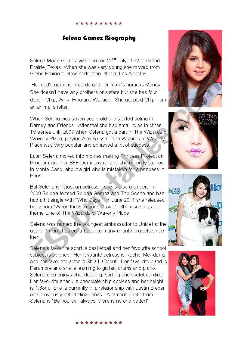 Selena Gomez Biography and Factfile