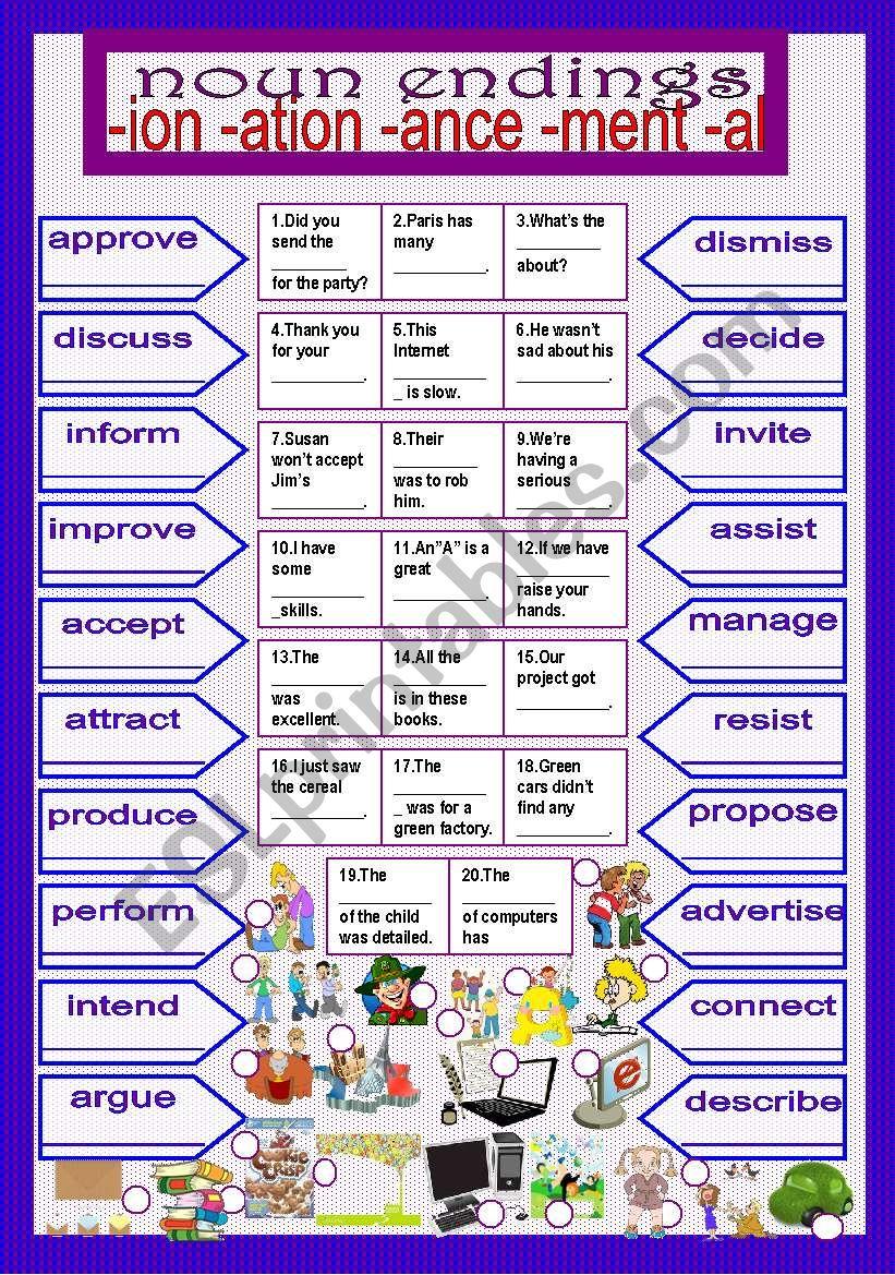 noun endings worksheet