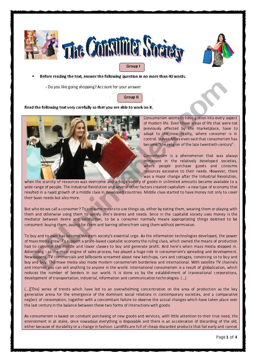 The Consumer Society worksheet