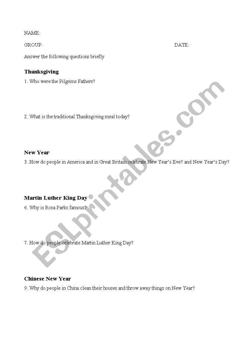 American and british culture worksheet