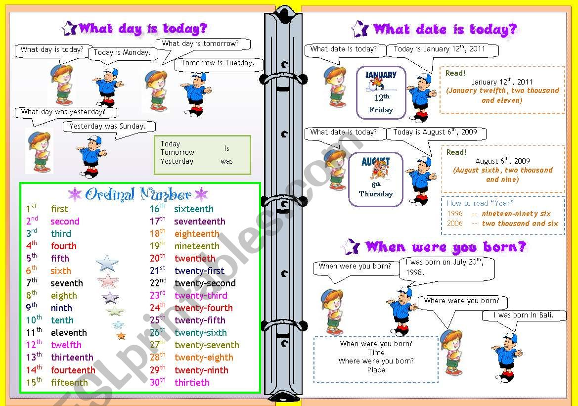 What day is today/ Ordinal Number/ Date / Birthday