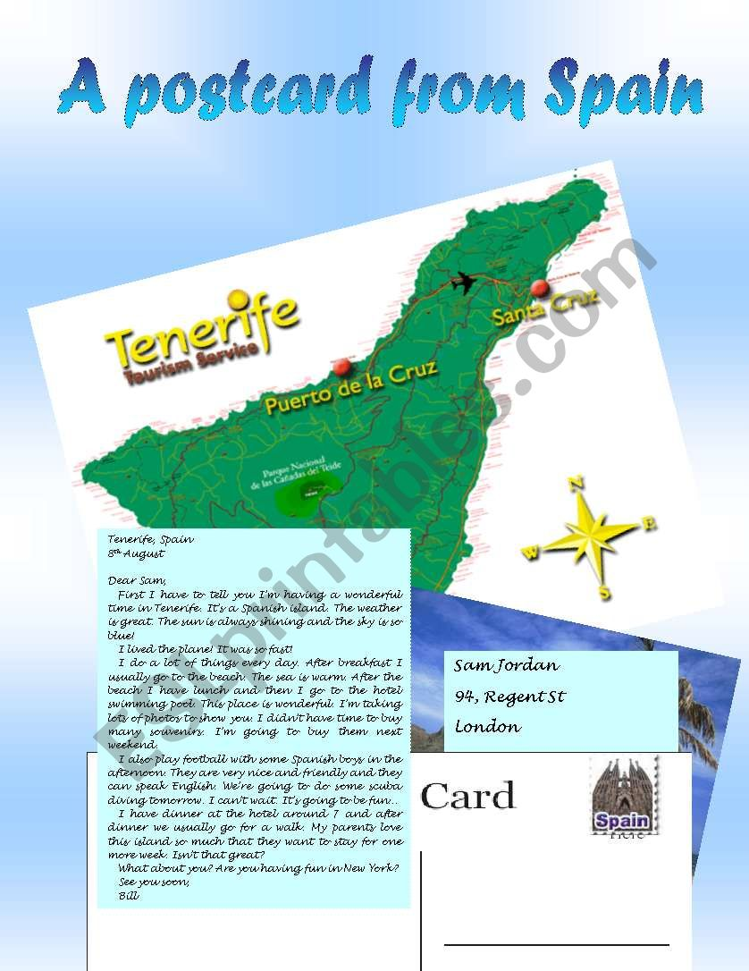 Reading A postcard from Spain worksheet