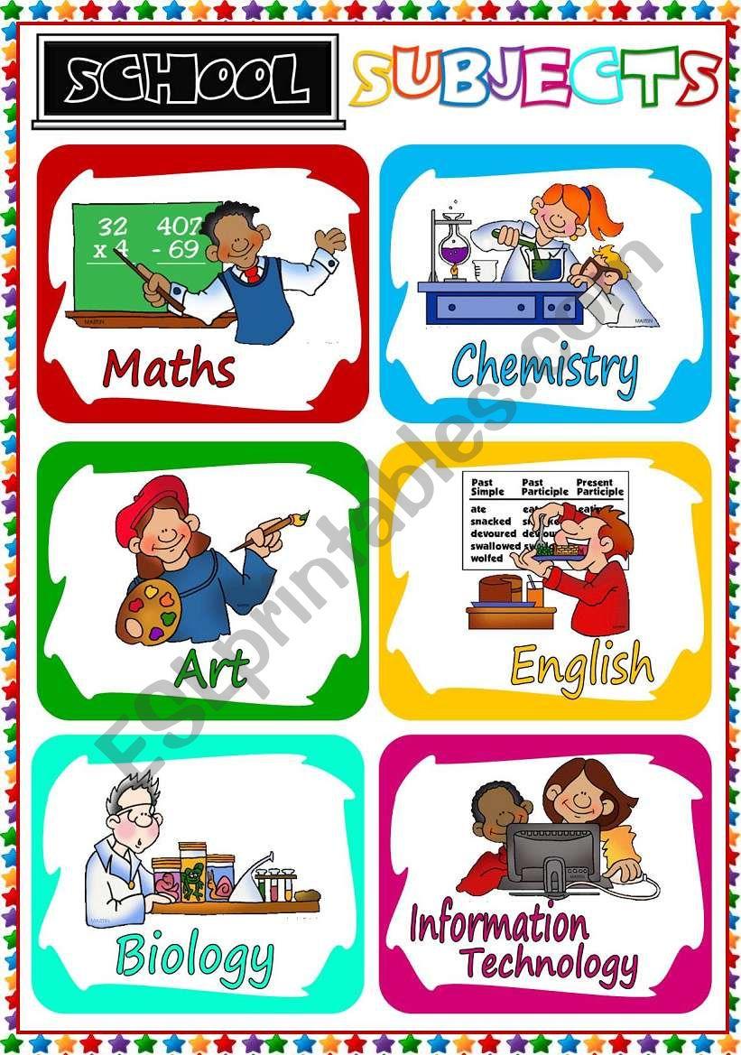 School Subjects - flashcards  worksheet