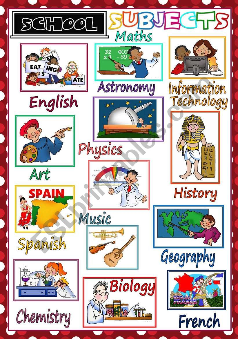 School Subjects - POSTER worksheet