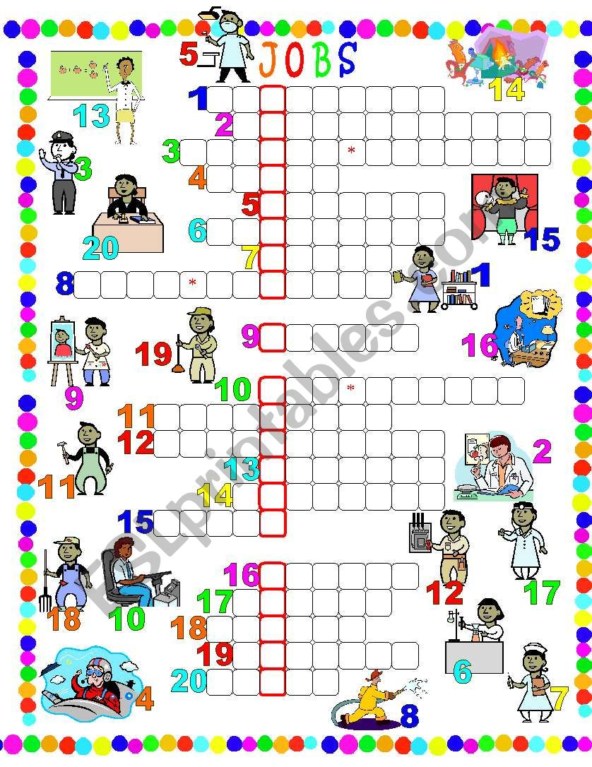 Jobs-Crossword worksheet
