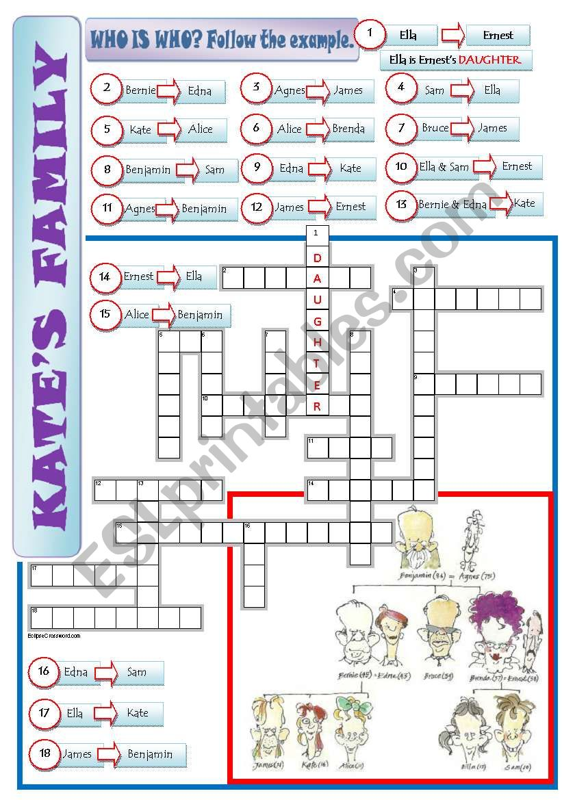 A FAMILY TREE - a crossword + writing sentences + key