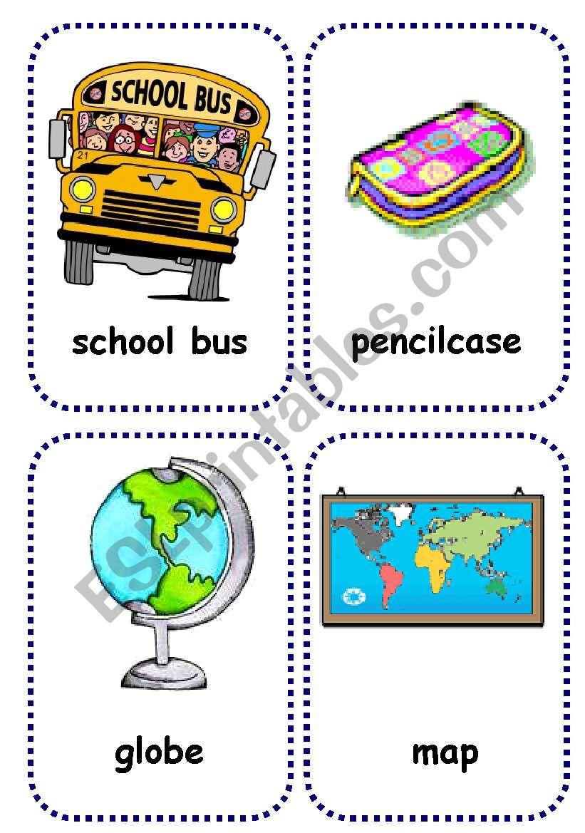 school objects flashcards 1/2 worksheet