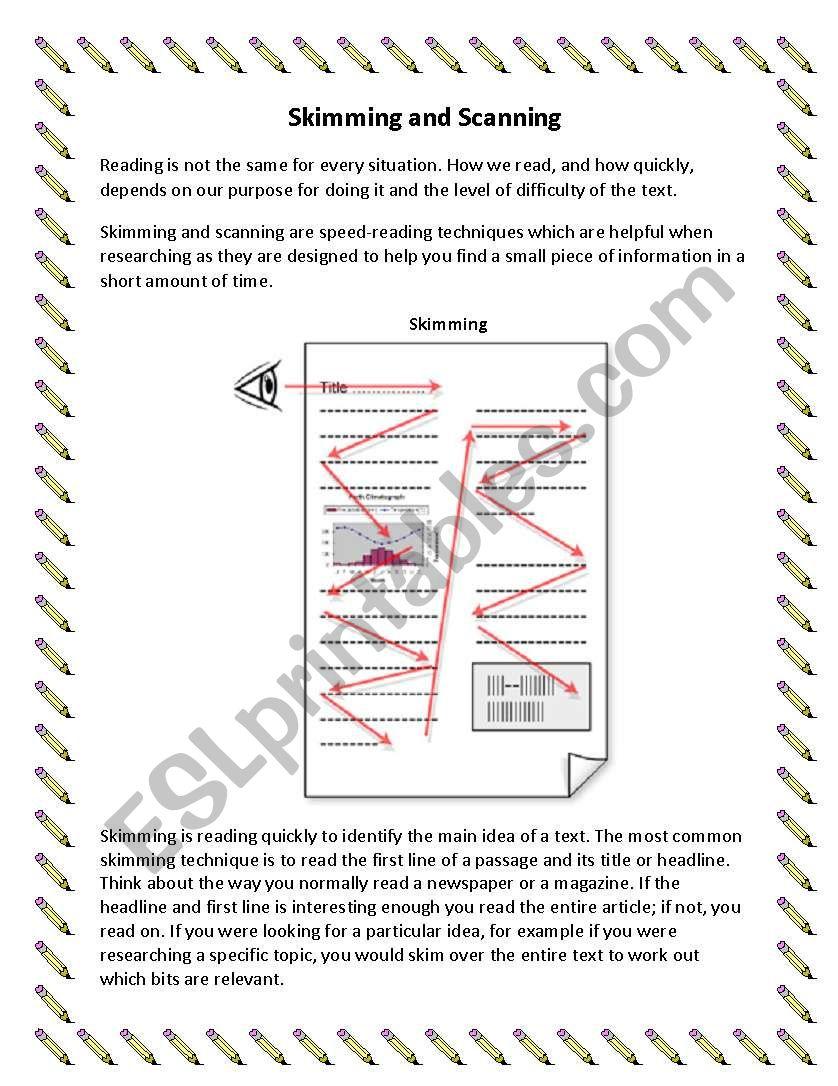 Skimming and Scanning worksheet