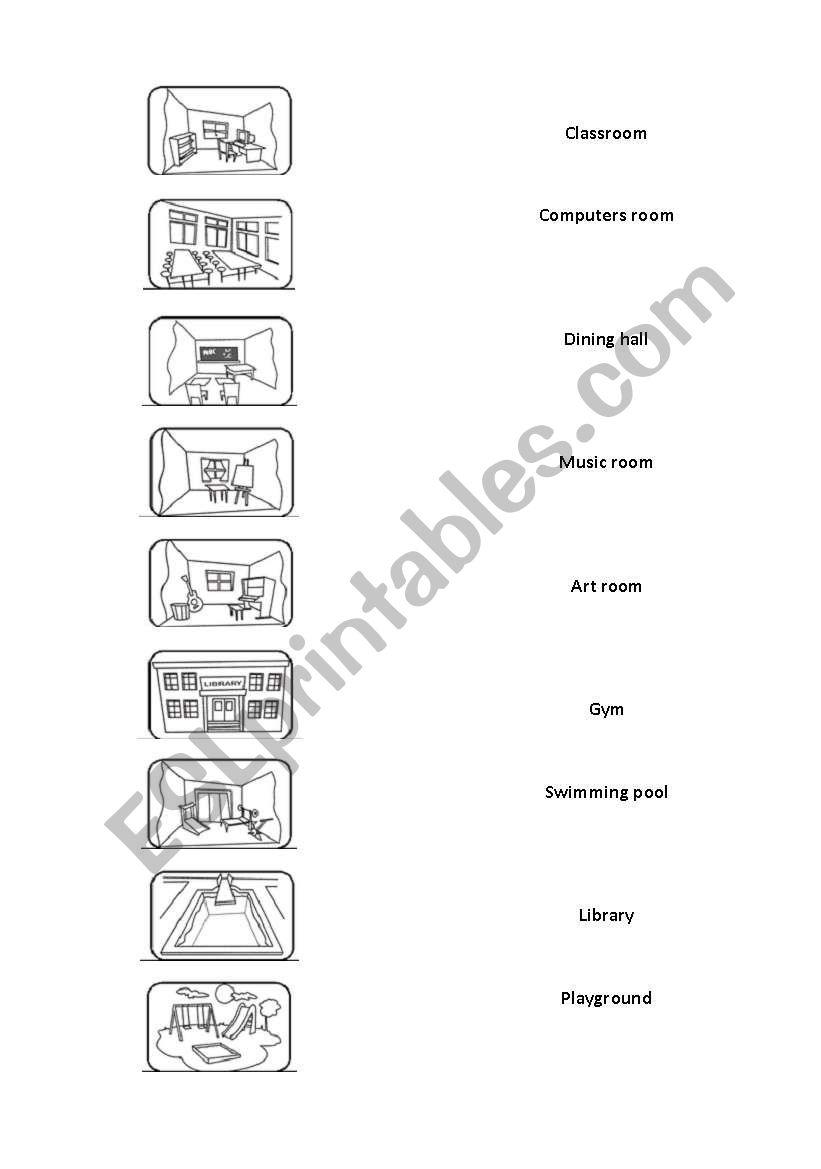 places in the school esl worksheet by aasbosco. Black Bedroom Furniture Sets. Home Design Ideas