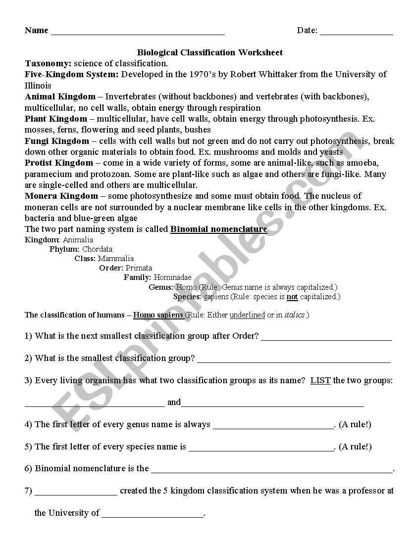Worksheets Binomial Nomenclature Worksheet english worksheets binomial nomenclature worksheet