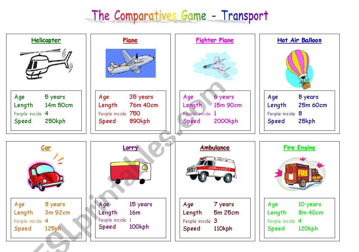 Transport Comparatives Game worksheet