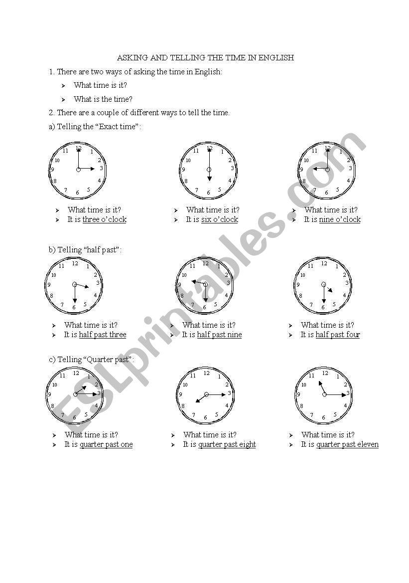 Telling the time esl worksheet by zehraperihan telling the time worksheet ibookread Read Online