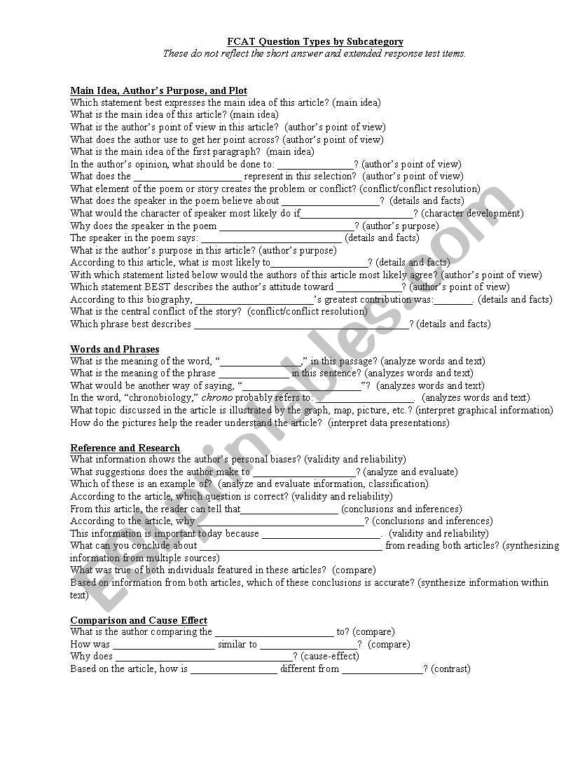 question stems for fcat worksheet