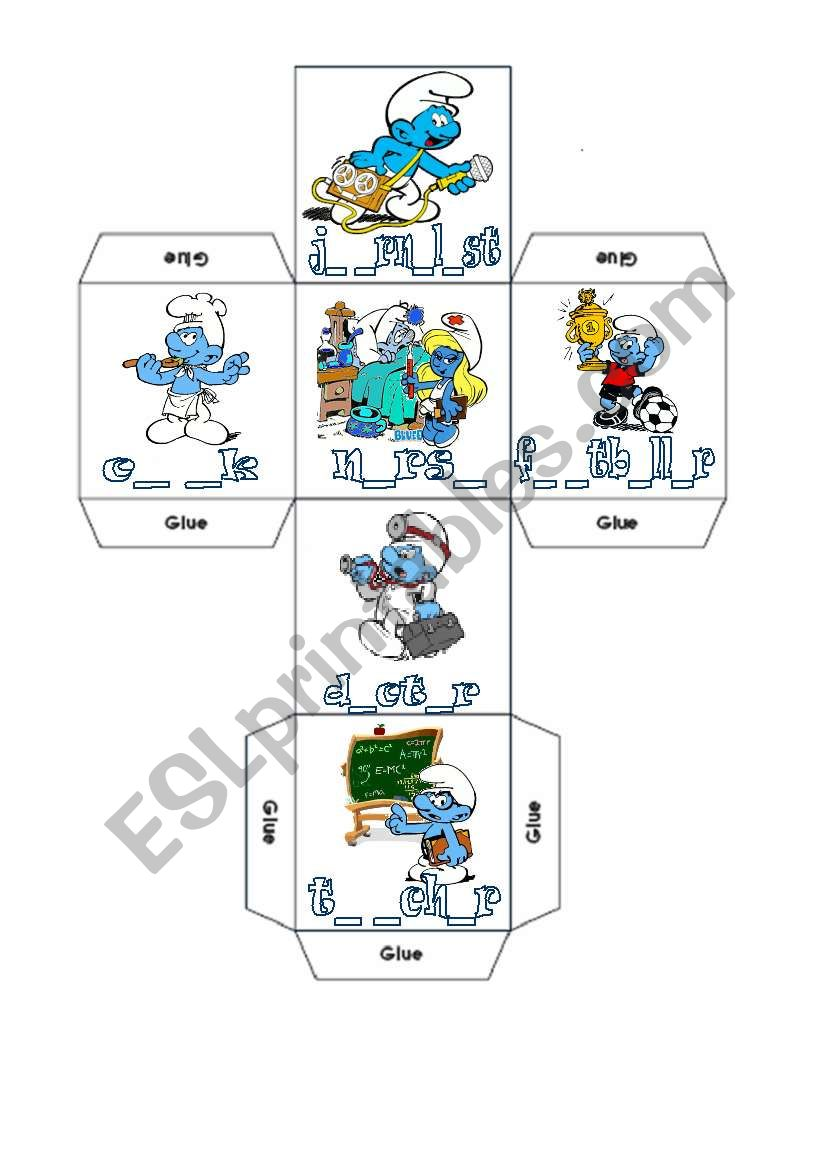 Two DICE and CRISS-CROSS BINGO with The SMURFS