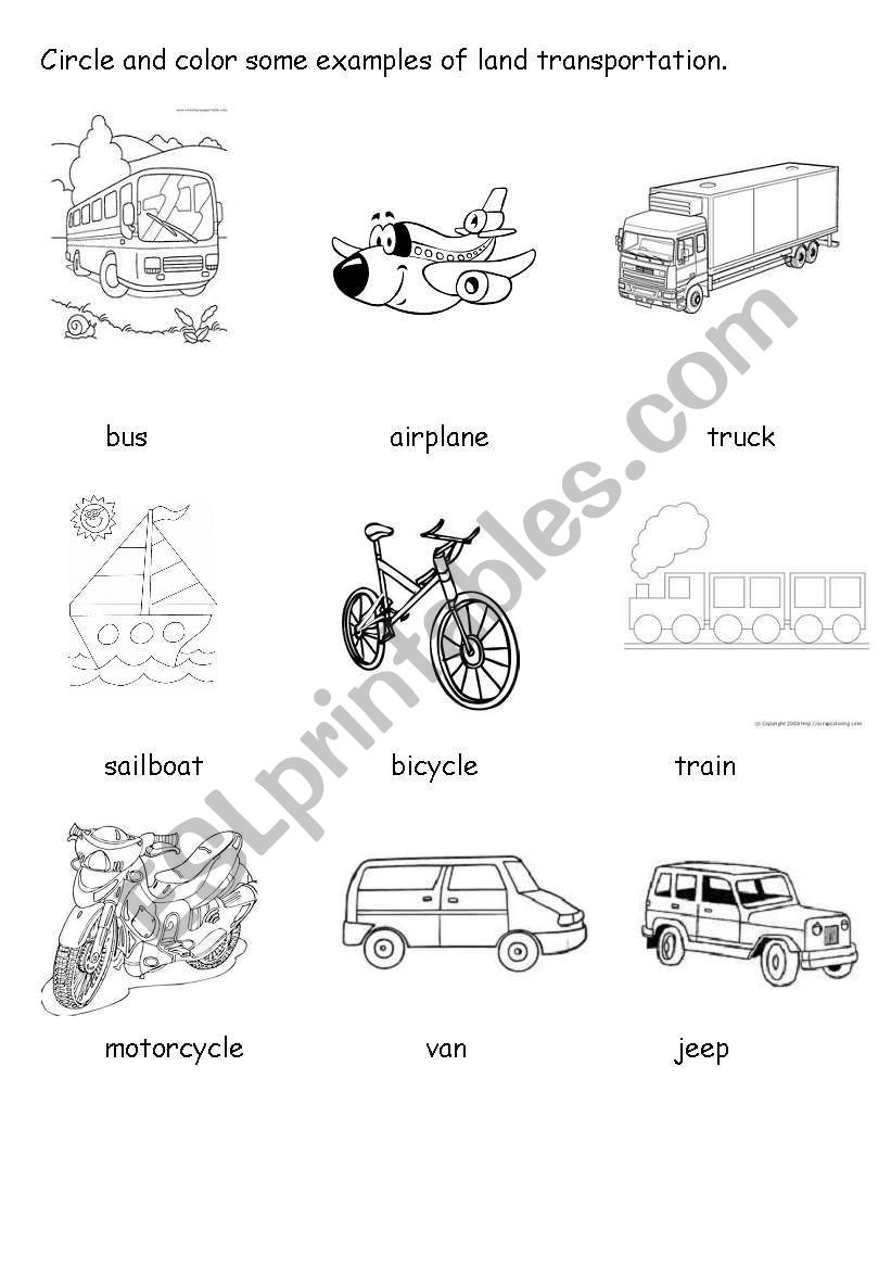 Land Transportation Worksheet - ESL worksheet by chix_111