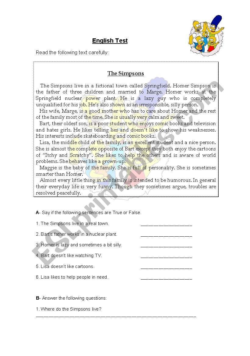 The Simpsons worksheet