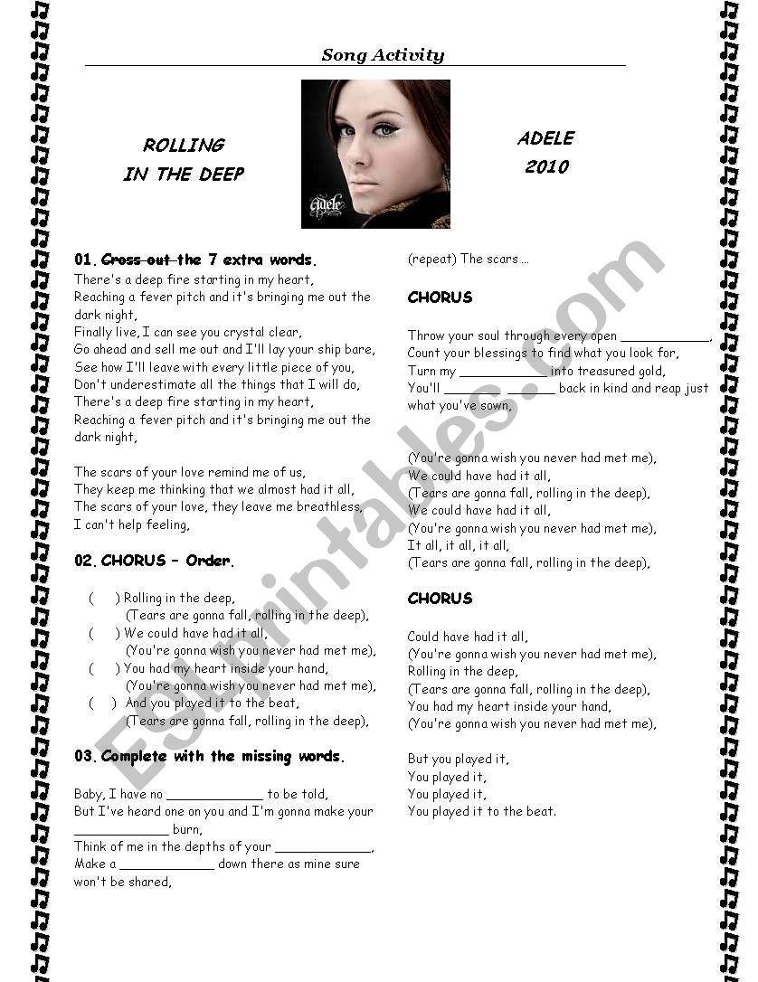 Song - ROLLING IN THE DEEP - Adele - ESL worksheet by FabianaB