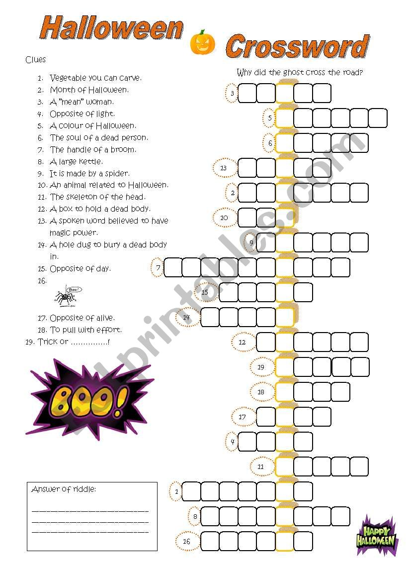 photograph about Halloween Crossword Puzzles Printable identified as Halloween Crossword - ESL worksheet through Mulle